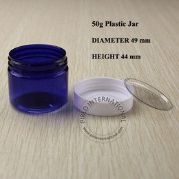 Wholesale Plastic Container For Facial - 50ml Cobalt Blue Plastic Jar With Lid Empty Cosmetic Packaging Makeup PET Bottle Pot For Face Facial Mask Hand Cream Containers