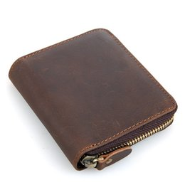 Wholesale Clutch Leather For Men - Brand Men's Purse Genuine Leather Short Vintage Wallet Men's Pocket Coin Purse Top Quality Brown Purse Credit Card Holder for Men