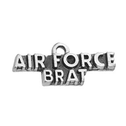 Wholesale Tibetan Silver Love Word Charms - Hot Sell Tibetan Silver Plated Air Force Brat Word Charm Accessory Charm Pendant For Bracelet & Necklace Jewelry