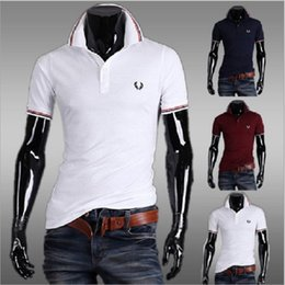 Wholesale Quality Formal Shirts - Mens Fashion Print Polo Shirts England Style High Quality Cotton Man Formal Wear Shirts Summer Short Sleeve Men's Clothing 4 Colors