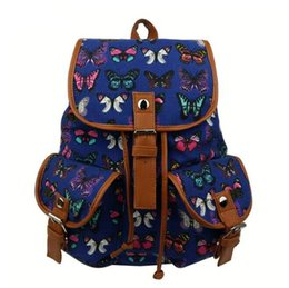 Nouveau 2017 Hot European et American vent papillon imprimé femmes sac à dos sac d'étudiant Haute qualité toile sac à dos d'école ? partir de fabricateur
