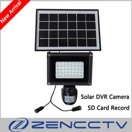 Wholesale Solar Video Security Camera - Solar Lamp 720P Mini DVR Camera with 8GB SD Card 40pcs LED Floodlight PIR Motion Detection Recording Video HD CCTV Security