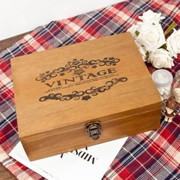 Wholesale Ancient Pearls - Vintage Wood Storage Case Jewelry Pearl Necklace Bracelet Organizer Ancient Wooden Gift Box Treasure Chest Case ZA3602