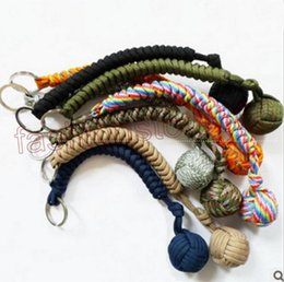 Wholesale Paracord Metal - 16 colors 550 paracord keychain Survival Lanyard outdoor Climbing Rope Carabiner key Chain Ring Fist Knot High Strength Steel Ball