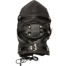 Wholesale Harness Mouth Plug - Fake Leather Headgear Mask Bondage Harness and Dildos Mouth GAG Plug Multiplex Slave Hood Lock Adult Sex Game Toys