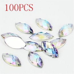 Wholesale crystal clear nail acrylic - Wholesale- Hot Sale 100Pieces Flat Back Marquise Earth Facets Clear Crystal AB Acrylic Horse eye Shape Rhinestone Nail art diamond DIY