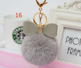 Wholesale Leather For Key Rings - rabbit fur pompoms Plush fur ball Real Rabbit Bowknot pom keychain Real rex Rabbit fluffy Fur Ball key ring Key Chains For Bag 17 Colors