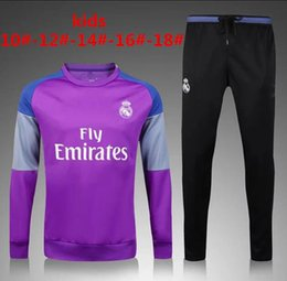 Wholesale Children S Sports Suits - 2016 2017 Kids Long Sleeve Real Madrid Tracksuit Jogging Boys kit soccer wear Suits Youth Sport Children Ronaldo training tracksuit