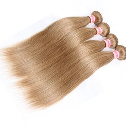 Wholesale Dark Blonde Human Hair Extensions - Brazilian Straight Hair Bundles Blonde Brazilian Virgin Human Hair Extensions Pure color #1 #30 #2 #4 #33 #99J #27