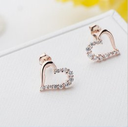 Wholesale Hollow Rose Crystal Earrings - 925 Silver Hollow Love Heart Cubic Zirconia Rose Gold Color Stud Earrings CZ Stone Fashion Jewelry For Women Earring Wholesale