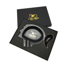 Wholesale Luxury Ashtrays - COHIBA with a gift box Black Color Ashtray Luxury Black Classcial 50 Anniversary ceramics Cigar Ashtray free shipping