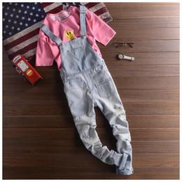 Wholesale Working Jeans - Wholesale- Mens Distressed Jeans Bib Overalls Fashion Light Blue Denim Work Overalls Men One Piece Denim Jumpsuit Long Trousers XXL