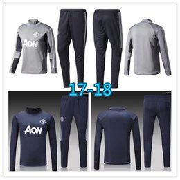 Wholesale United Shipping - AAA quality 17 18 new Long sleeve Blue Soccer training suit 2017-2018 men football jerseys sportswear blue foot shirts United free shipping