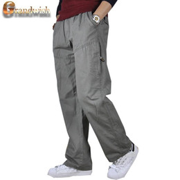 Wholesale Men Casual Work Pants - Wholesale-2016 New Cargo Pants Men Size 44 Baggy Solid Army Pants Trousers Mens Full Length Stright Men's Working Pants Cotton ,PA595