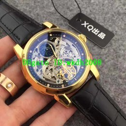 Wholesale Skeleton Date Automatic Mens Watch - Luxury Brand 18K Yellow Gold Guilloche work Skeleton Tourbillon Automatic Mens Watch Alligator Leather Strap Transparent Mans Wristwatch