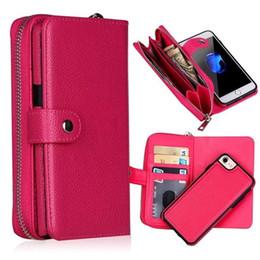 Wholesale Iphone Leather Case Zipper - For iphone X 5 5s SE 6 6S 7 6 PLUS 7 8 PLUS 2 in 1 Detachable Magnet Wallet Leather Zipper Money Pocket Photo Frame case 1PC LOT