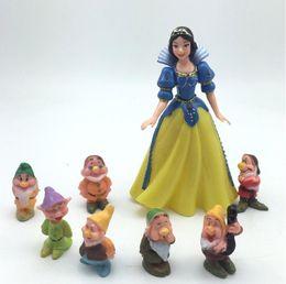 Wholesale Princess House Set - kids 8pcs set Princess Snow White and the Seven Dwarfs Action Figures Mini figurines doll house miniature model cake topper decor Toys Gift