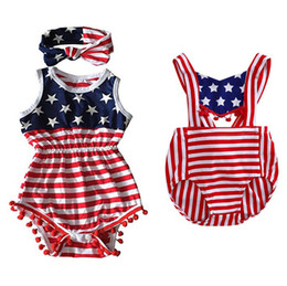 Wholesale One Neck - Baby Two-piece Suits Print National Flag Textile Printing One-piece Suit + Hairband Bowknot Ball Top 0-3T Children's Sui