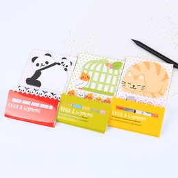 Wholesale Sticky Note Book - Wholesale- 2 PCS Kawaii Creative Scrapbooking Animal Cat Panda Sticker Bookmark Tab Flags Memo Book Marker Sticky Notes Office Supplies