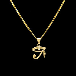 Wholesale Necklace Lines - Hip Hop Necklace Gold Plated Eyes Of Horus Line CZ Crystal Pendant Necklace Cuban Chain Jewelry for Men Women