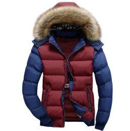 Veste détachable de mode pour hommes en Ligne-Vêtements en coton pour hommes New Autumn and Winter Veste en coton Mode Hommes Vêtements en coton plus épais Casquette détachable