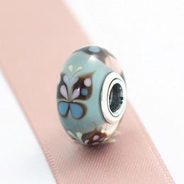 Wholesale Pandora Kiss - 5pcs S925 Sterling Silver Murano Glass Bead High-quality Blue Butterfly Kisses Fit European Pandora charm Bracelets Necklaces