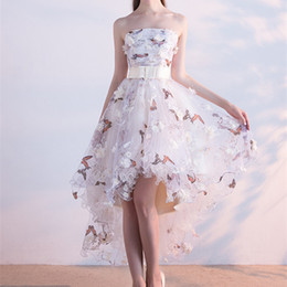 Wholesale Floral High Low Prom Dresses - High Low Floral Embroidery Prom Dresses 2017 A-Line Matched Bow Sash 3D Flower Butterfly Strapless Evening Dresses Formal Pageant Gowns P203