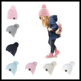 Wholesale Candy Skulls Wholesale - CC Winter Beanie with Soft Ball 6 Candy Colors Knitted Chunky Skull Caps Slouchy Crochet Hats for Kids