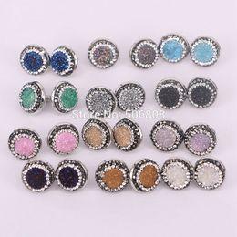 Wholesale Bezel Round Earrings - 10Pairs Nature titanium quartz stone stud earrings, 16mm, round pave rhinestone crystal bezel gems earrings ZYZ160-8829
