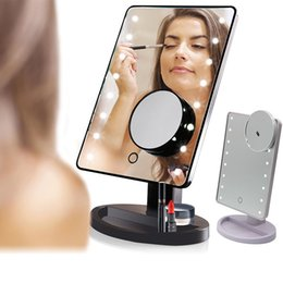 Wholesale Make Up Pocket Mirror - Hot Sales 360 Degree Rotation Touch Screen Make Up Led Mirror Cosmetic Folding Portable Compact Pocket 16 22 LED Lights Makeup Tool DHL Free