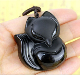 Wholesale Carved Statues - Fashion Black Dragon Phoenix Pendant Natural Hand-carved Obsidian Necklace Fine Jade Statues Jewelry For Women Men Free Rope