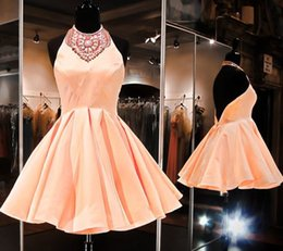 Wholesale Real Photo Peach Dresses - Stunning 2017 New Peach Sation Short Homecoming Dresses Cheap Halter Backless Beaded Sexy Prom Party Gowns Custom Made EF7066