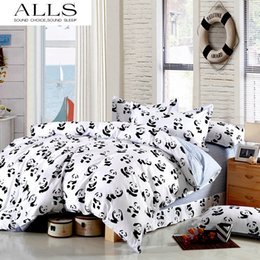 Wholesale Panda King Size Duvet Cover - Wholesale-Black and white bedding set Panda 100% cotton bed sheet bedspread Duvet cover set Twin Queen King size for single double bed