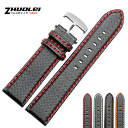 Wholesale Watch Leather Strap 22mm - Wholesale- 18mm 20mm 22mm 24mm Black Red Stitching Carbon Fiber Leather Watch Band strap sport