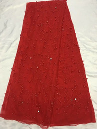 Wholesale Crystals Colored Beads - 5 Yards pc New fashion red french net lace fabric with beads and crystal decoration african mesh lace for dress QN61-4