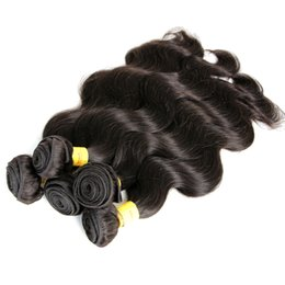 Wholesale High Quality Malaysian Virgin Hair - Highest Quality 8A Peruvian Virgin Hair Extensions 100% Unprocessed Human Hair Body Wave Natural Black Color #1b 5Pcs lot Free Shipping