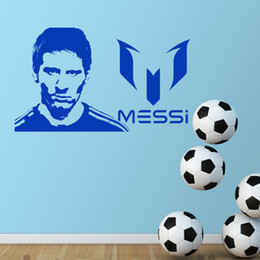Wholesale Messi Wall - 2017 Art Design Lionel Messi Wall Sticker Home Decor DIY Vinyl Football Sports Soccer Player Wall Decals Kids Room