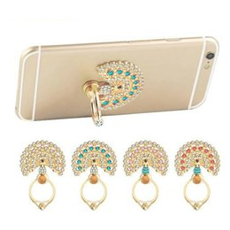 Wholesale Diamond Luxury Mobile Phone - Universal Luxury Peacock Diamond Finger Ring Phone Holder Mount For iPhone 6 6s 7 Plus For Samsung Mobile Phones Tablet Dock Free Shipping