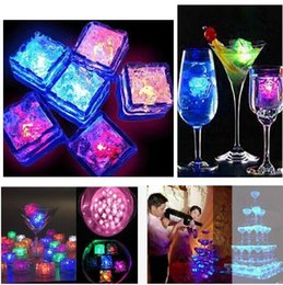 Wholesale Light Up Party Cups - Square led ice cubes 7 color changing Light up LED Ice Cubes Glow Ice Cubes for wedding decoration novelty party Beer glass of champagne cup