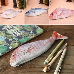 Wholesale Fish Gift Bags - Wholesale- Creative fish shaped pencil bag pencil box pencil case box fish of large capacity upgrade school gift funny gift