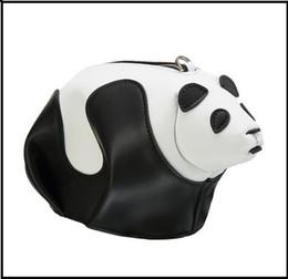 Wholesale Panda Shoulder Bag Black - 2017 New Genuine Leather Coin Purse Shoulder Oblique cross Small bag Black and white Hit color lovely Panda package fashion Mobile phone bag