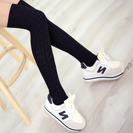 Wholesale Thick Thigh High Socks - Wholesale- Fashion Brand Designer Women Over The Knee Socks Thigh High Thick Lovely Girls Patterned Knee High Long Socks