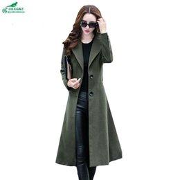 Wholesale korea fashion winter coat - OKXGNZ Korea 2017 New Winter Woolen Cloth Coat Medium Long Slim Fashion Women Coat Elegant Lapel Big Yards Women Coat A072