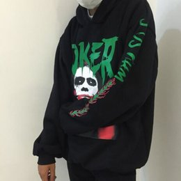 Wholesale Hoodies Joker - Fashion Joker Men Black Cotton Print Hoodies BF Style Hiphop Clown Sweatershirts Women Couples Newest Thick Warm Clothes