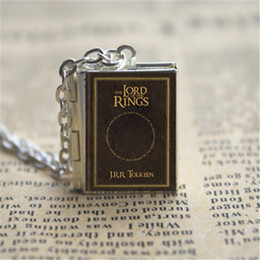 Wholesale Locket Rings Wholesale - 12pcs The Lord Of The Rings book Locket Necklace, SILVER tone VISION 2zz