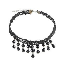 Wholesale European Vintage Choker - Trendy Chokers Vintage European Luxury Lace Short Necklace With Black Gem Beads Tassel Fake Collar Statement Necklace
