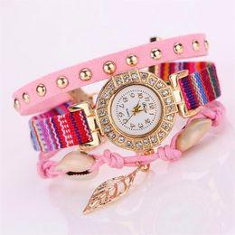 Wholesale Vintage Diamond Watches - Luxury Duoya Quartz Watch Women Diamond Glitter Gold Leaf Jewelry Wristwatch Ladies Vintage Bracelet Christmas Gift Watches