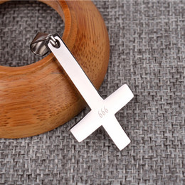 Wholesale Mens Titanium Cross Pendant - Wholesale-JS 666 Gothic Silver Titanium Inverted Cross Necklace Lucifer Satan Necklase Punk Rock Mens Jewlery Personalized Gift IC004