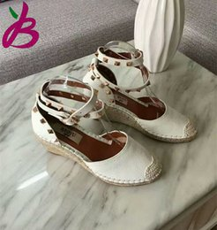 Wholesale Size Heel Wedges - 2017 SPRING SUMMER Woman's real leather wedges espadrilles ankle strap sandals EU35-40 size