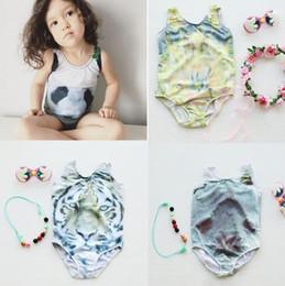 Wholesale Pool Pieces - Girls INS Swimsuits Tiger Panda seal flower 3D Print One-Pieces Bikini Summer Animal Swimwear Baby Girls Beachwear Pool Bath KKA2080